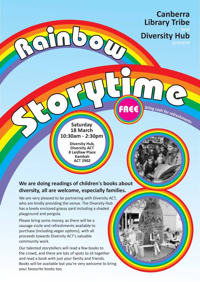 Rainbow Storytime poster with event details